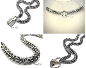 Submissive Day Collar Stainless Steel BDSM Slave Collar with Lock or O-Ring Clasp