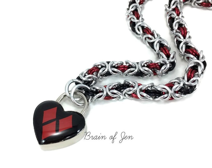 Submissive Day Collar Harley Quinn Inspired Red and Black Heart Lock
