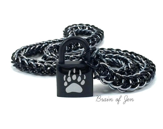 BDSM Slave Collar Bear Paw Print Submissive Day Collar Black & Gunmetal Grey
