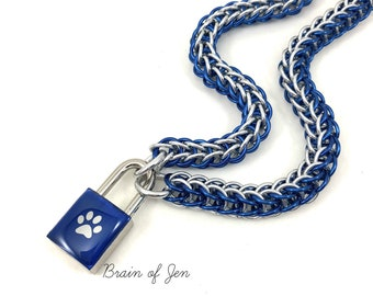 BDSM Slave Collar Blue Paw Print Padlock Necklace Pup Kitten Submissive Collar