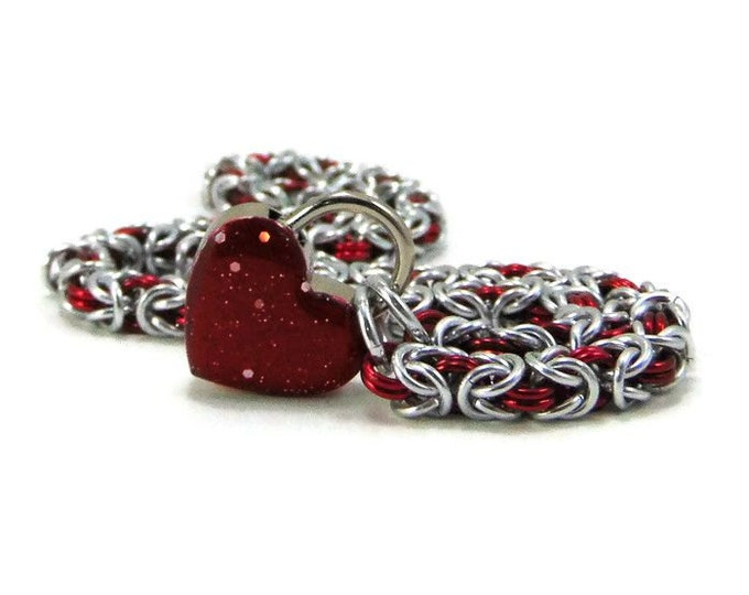 Women's BDSM Slave Collar Silver & Red with Small Blood Red Heart Lock