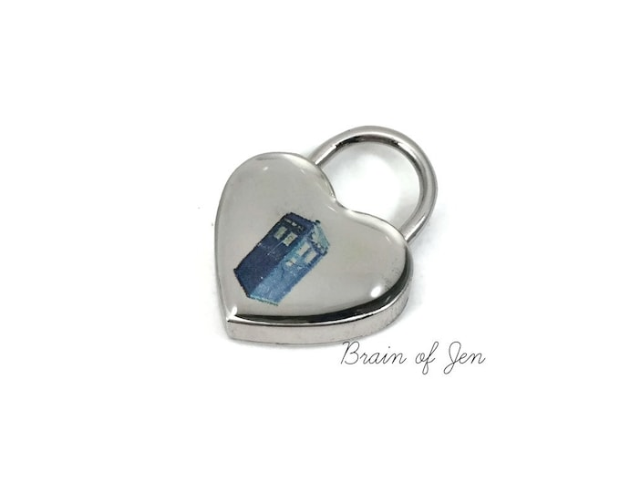 TARDIS Heart Shaped Working Padlock Doctor Who Themed Lock for Submissive Collars