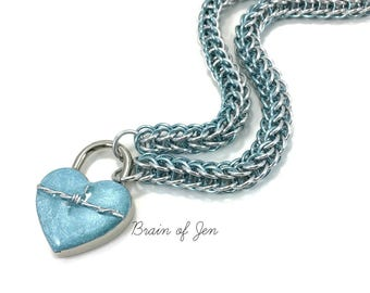 Womens BDSM Slave Collar Aqua Blue & Silver with Heart and Barbed Wire Lock Submissive Collar