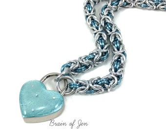 BDSM Slave Collar Silver & Aqua Blue Small Aqua Heart Padlock Necklace
