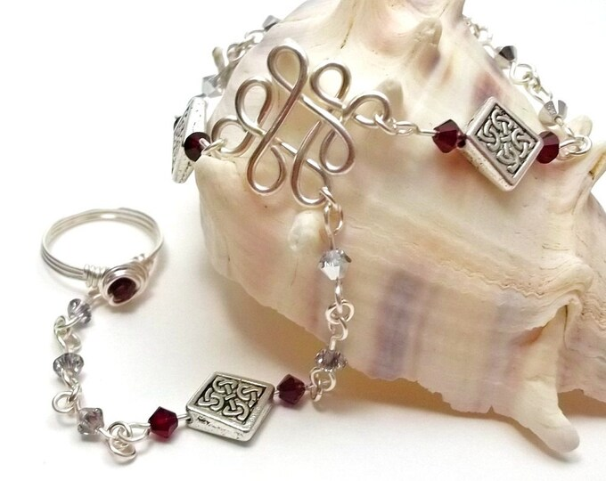 Silver & Red Crystal Celtic Slave Bracelet with Ring Attached
