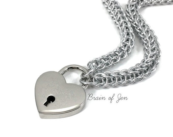 Silver Submissive Day Collar with Heart Lock Chainmail Choker Padlock Necklace