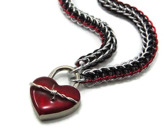 BDSM Slave Collar Silver, Black & Red with Heart and Barbed Wire Lock Submissive Day Collar