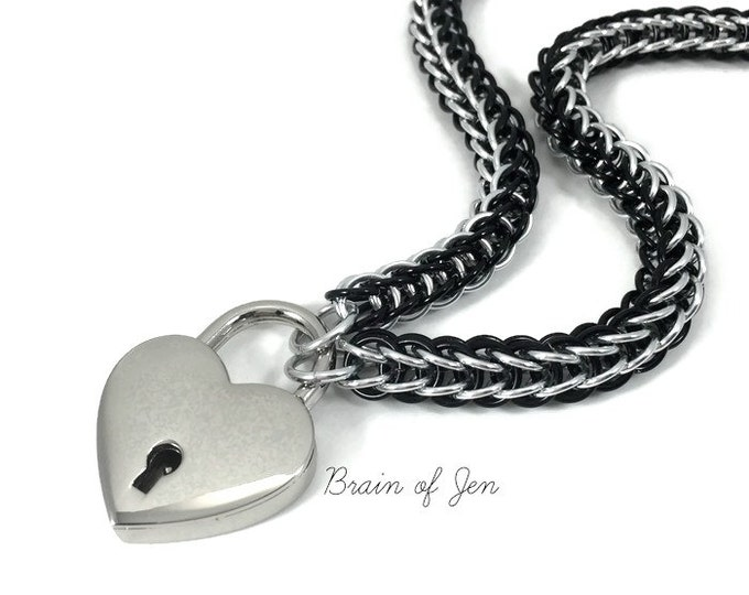BDSM Submissive Day Collar Black and Silver with Heart Shaped Padlock