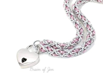 Slave Collar with Small Heart Padlock Silver and Pink Submissive Day Collar