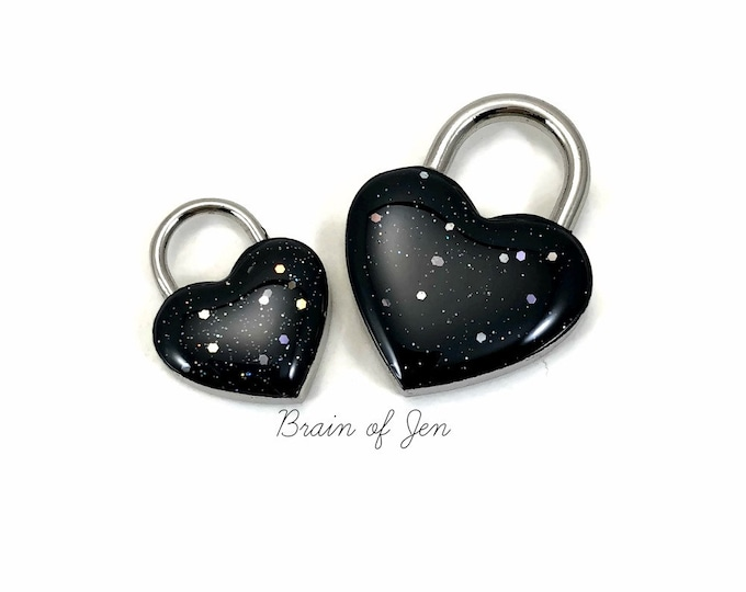 Heart Shaped Padlock Midnight Black Starry Night Day Collar Lock and Key
