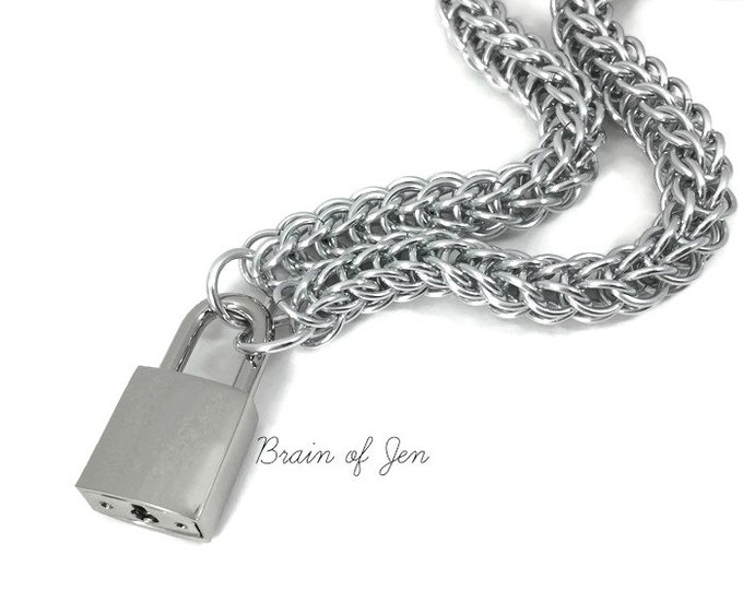 Unisex BDSM Slave Collar Silver Submissive Collar with Working Padlock