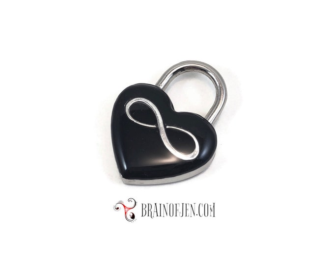 Infinity Symbol Silver and Black Heart Shaped Working Lock for Slave Collars