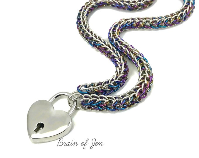 Submissive Day Collar Sterling Silver and Rainbow Niobium Locking Slave Collar