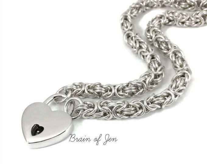 Sterling Silver Submissive Day Collar 925 Sterling Heart Lock and Byzantine Chainmail Choker BDSM Slave Collar