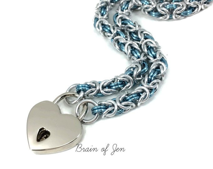 BDSM Slave Collar Pale Aqua Blue and Silver Heart Lock Submissive Collar
