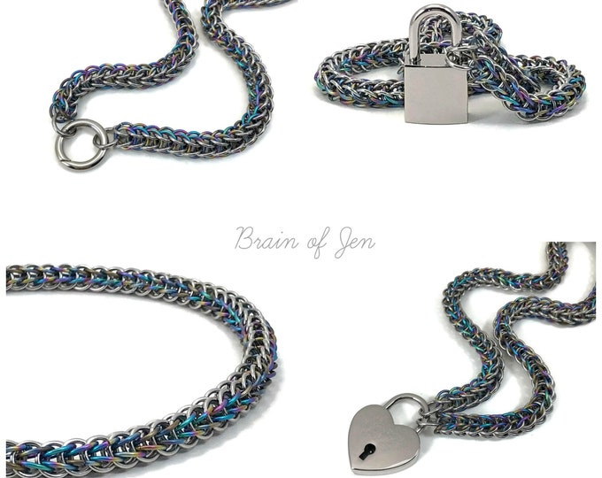 BDSM Slave Collar Stainless Steel and Rainbow Titanium with Lock or O-Ring Clasp