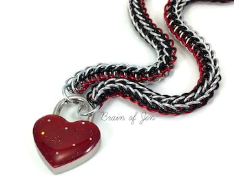 BDSM Slave Collar Silver Red and Black with Sparkly Blood Red Heart Shaped Padlock