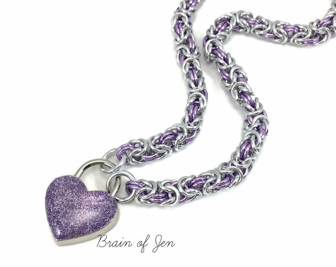 Slave Collar Silver & Lavender Chainmail Submissive Collar Purple Heart Lock