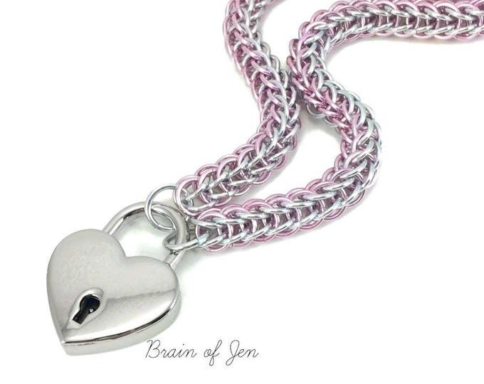 Slave Collar with Heart Lock Rose Pink and Silver Padlock Necklace