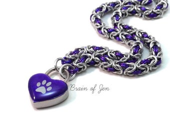 BDSM Collar Paw Print Chainmail Choker Necklace Heart Lock Silver and Purple Submissive Collar