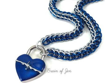 BDSM Slave Collar Silver& Cobalt Blue with Heart and Barbed Wire Lock Submissive Collar