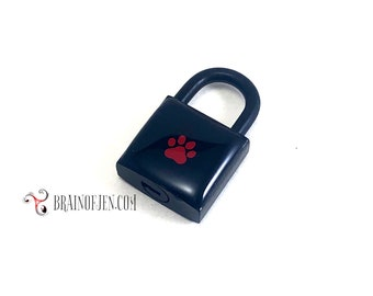 Black Padlock with Red Paw Print