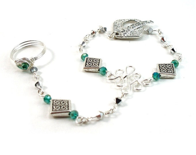 Celtic Knot Slave Bracelet with Emerald Green & Silver Crystals