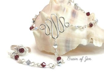 January Birthstone Slave Bracelet Ring Attached Silver and Red Swarovski Crystal