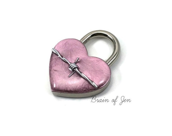Pink Working Padlock with Real Barbed Wire You Choose Size