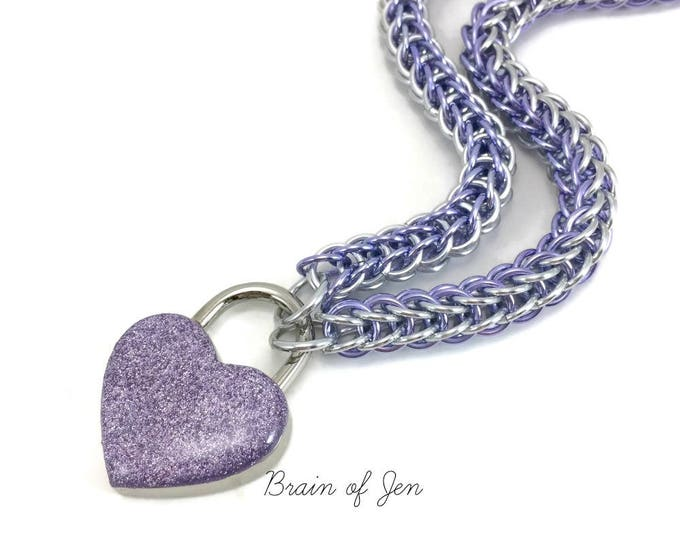 Lavender & Silver Slave Collar with Sparkly Lavender Heart Shaped Lock