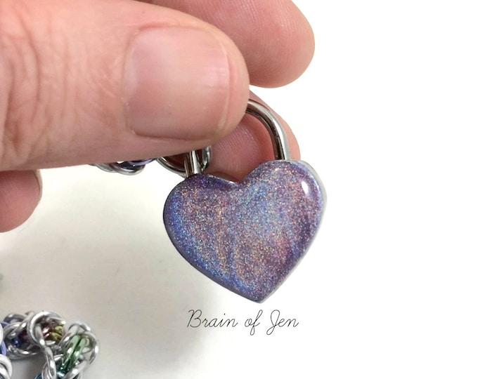 Lavender Holographic Heart Padlock for Day Collars BDSM Bondage Jewelry