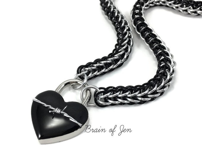 Womens BDSM Slave Collar Black & Silver with Heart and Barbed Wire Lock Submissive Collar