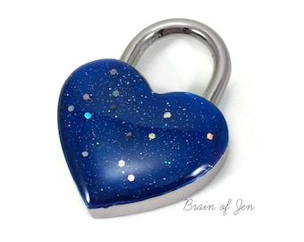 Cobalt Blue Heart Lock with Engraving RESERVED