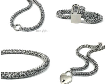 BDSM Slave Collar Stainless Steel Submissive Collar with Lock or O-Ring Clasp