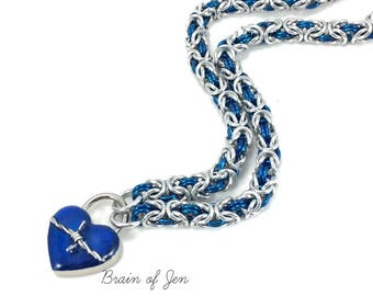 Cobalt Blue & Silver Chainmail Slave Collar with Barbed Wire Heart Lock Submissive Collar