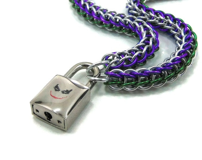 Unisex Slave Collar with Joker Inspired Padlock Silver, Purple and Green Chain
