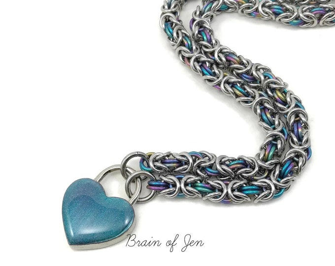 Submissive Day Collar Stainless Steel & Rainbow Titanium with Color Changing Heart Lock