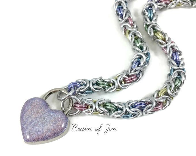 Pastel Rainbow BDSM Submissive Day Collar with Holographic Heart Lock