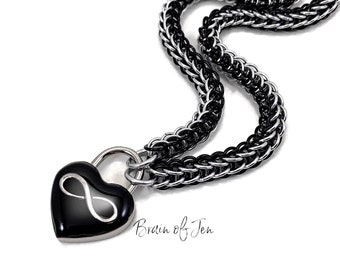 Eternity Collar Polyamory Slave Collar Black & Silver Infinity Symbol Black Heart Lock