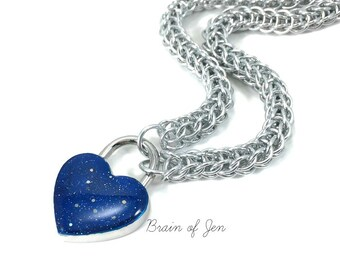 Locking BDSM Slave Collar Silver with Starry Night Cobalt Blue Heart Lock