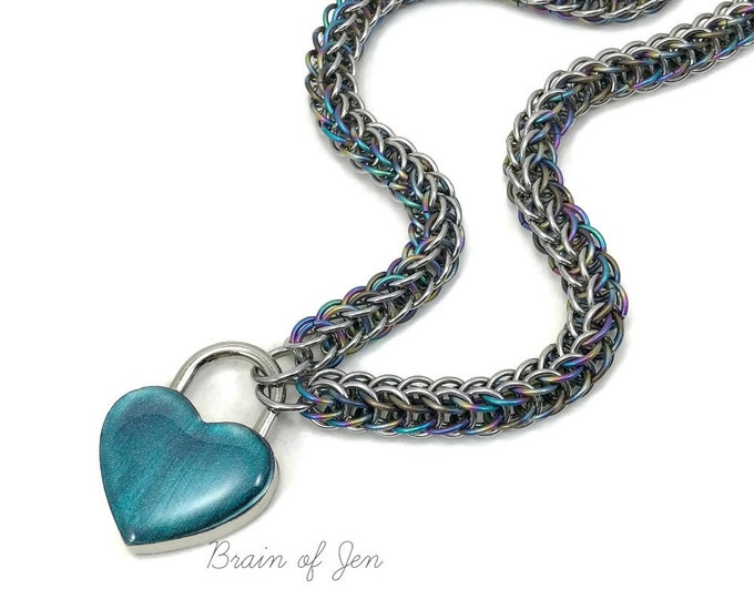 BDSM Slave Collar Rainbow Titanium & Stainless Steel with Color Changing Heart Lock