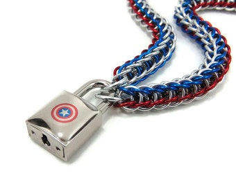 Captain America Slave Collar with Sheild Padlock Red, White and Blue Chain Submissive Day Collar