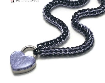 Submissive Day Collar Lavender & Black with Lavender Heart Shaped Padlock
