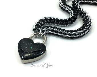 Submissive BDSM Collar Black and Silver with Sparkly Black Heart Padlock Necklace