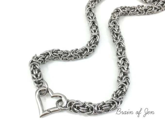 Stainless Steel Submissive Day Collar Chainmaille Slave Collar with Heart or O-Ring Clasp