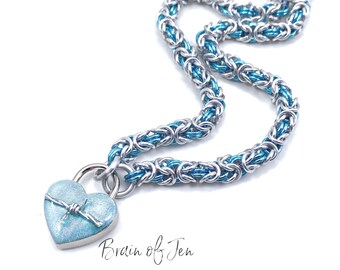 Submissive Day Collar in Aqua Blue and Silver with Real Barbed Wire Heart Lock Chainmail Choker Padlock Necklace