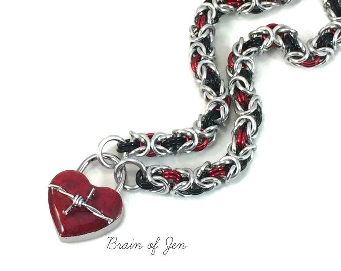 Slave Collar with Barbed Wire Heart Lock Silver Red & Black Submissive Day Collar Chainmaille Padlock Necklace