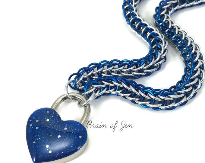 Chainmail Slave Collar Blue and Silver with Sparkly Cobalt Blue Heart Shaped Padlock