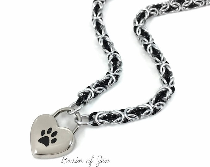 Paw Print Submissive Day Collar Silver & Black Chainmail Choker Heart Padlock Necklace