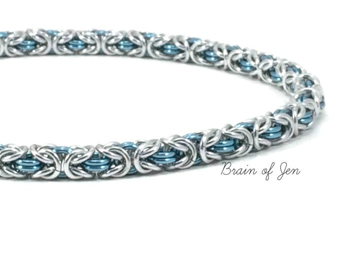 Silver and Aqua Blue Collar with Heart Clasp RESERVED